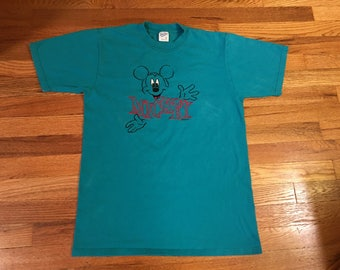 80s Mickey Mouse vintage Velva Sheen t-shirt embroidered tee Disney land Walt VHS video Minnie classic 90s and co goofy fun OG streetwear