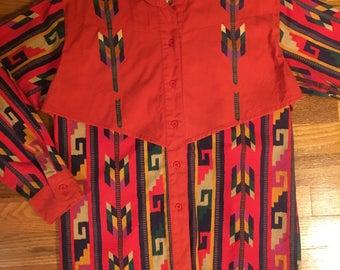 70s Wrangler Painted Desert vintage button up shirt rare Aztec print western hipster cowboy Levis denim retro 60s single stitch unique htf