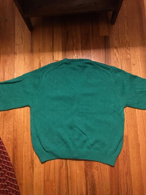 70s/80s Izod vintage sweater cardigan rare teal c… - image 5