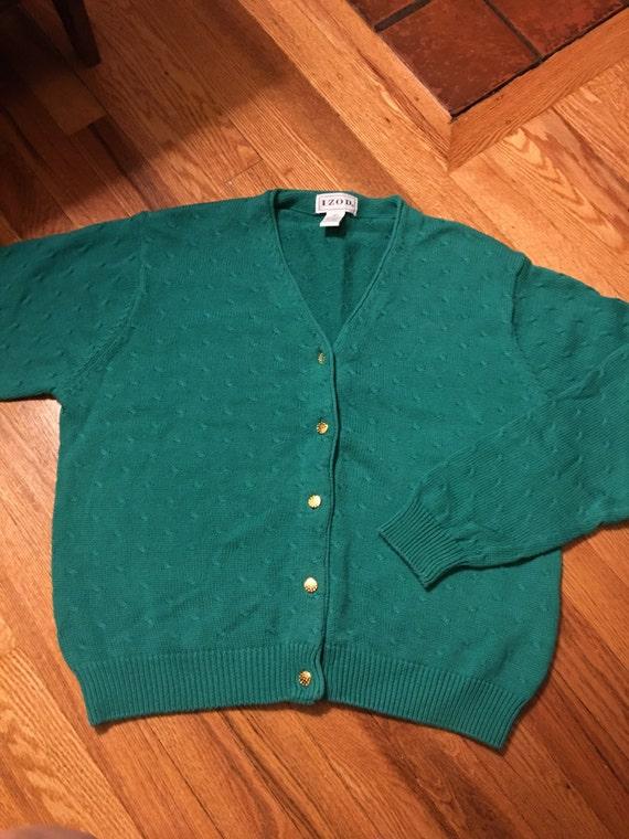 70s/80s Izod vintage sweater cardigan rare teal c… - image 1
