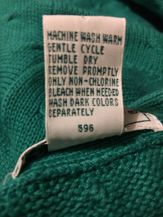 70s/80s Izod vintage sweater cardigan rare teal c… - image 4