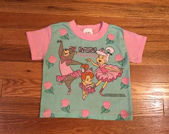 """1994 Cartoon Network """"Dance Troupe"""" vintage t-shirt rare toddler youth the Flintstones jetsons yogi bear Nickelodeon cute hipster snick"""