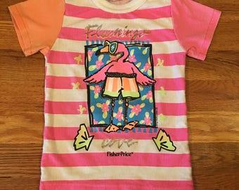 1989 Vintage Fisher Price pink flamingo T-shirt 80s toys 90s tonka barbie doll kids children youth nostalgia cute rare vintage cool htf
