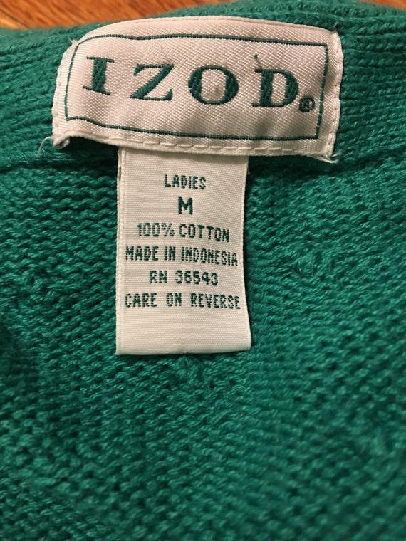 70s/80s Izod vintage sweater cardigan rare teal c… - image 3