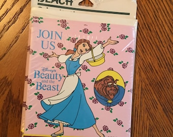 90s Beauty and the Beast vintage party invitations rare old school walt disney vhs video birthday cool fun cute 90s pink girl movie cartoon