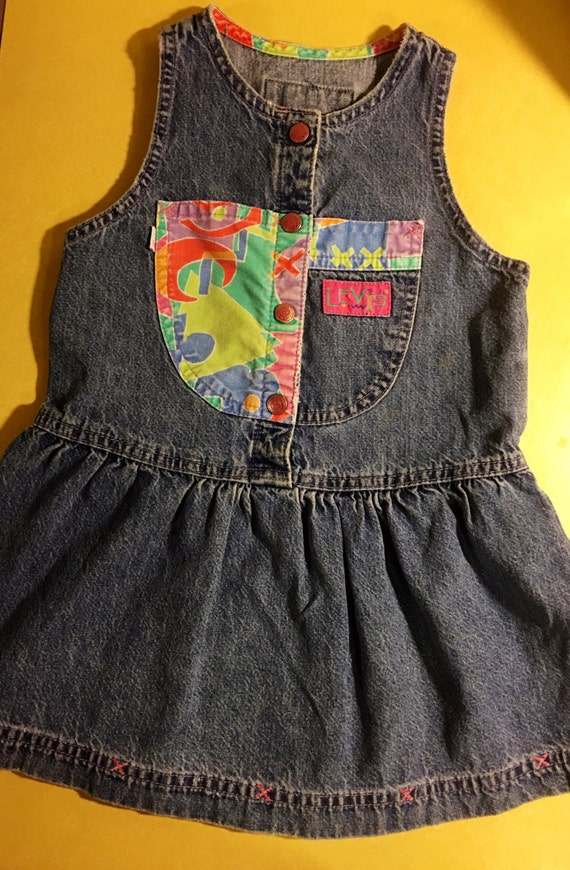 80s90s Levis Brand Denim Dress cute girls retro colorblock classic size 4 mom gift jeans guess shower old school hipster retro