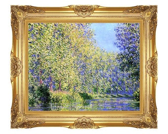 d698a8b060a A Bend in the Epte River near Giverny Claude Monet Painting Reproduction  River Framed Art Print on Canvas - Small to Large Sizes - M00089