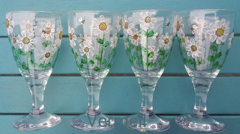 Wein Glas Bemalt Gänseblümchen Blumen Gänseblümchen Etsy