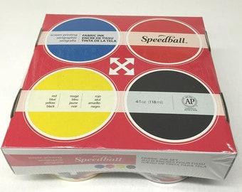 Speedball - Fabric Water Based Screen Printing Starter Set - Set of Four 118ml Inks
