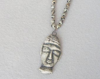 Buddha Pendant Necklace for Men, Spiritual Necklace, Tibetan Necklace, Buddhist Necklace, Mala Necklace, Prayer Beads, Rosary Necklace