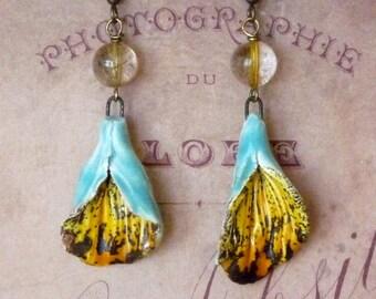 Gold Earrings, Bohemian Earrings, Boho Earrings, Quartz Earrings, Colorful Earrings, Ceramic Earrings, Flower Earrings, Hippie Earrings
