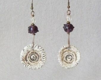 Boho Earrings, Bohemian Earrings, Earthy Earrings, Ethnic Earrings, Tribal Earrings, Ceramic Earrings, Handmade Jewelry, Mothers Day Gift