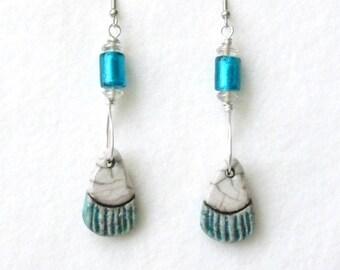 Turquoise Earrings, Drop Earrings, Boho Earrings, Turquoise Jewelry, Native American, Pendant Earrings, Artisan Earrings, Ethnic Earrings