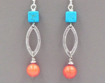 4a315a32d Boho Earrings for Summer, Turquoise Orange Dangle Earrings, Colourful, Teen  Earrings, Womens Gift Idea, Teen Girl