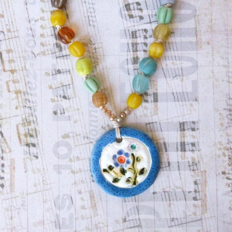 Round Pendant Bohemian Flower Necklace Mothers Day Gift Beaded Necklace with Pendant for Women Ceramic Necklace Rainbow Necklace