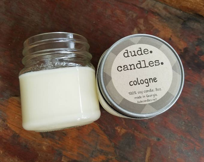 cologne candle. 8oz soy candle.