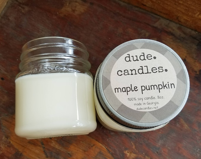 maple pumpkin candle. 8oz soy candle.