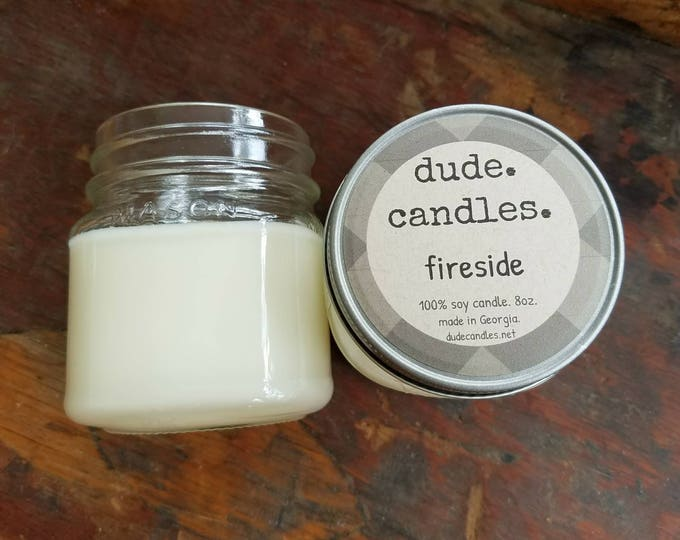 fireside candle. 8oz soy candle.