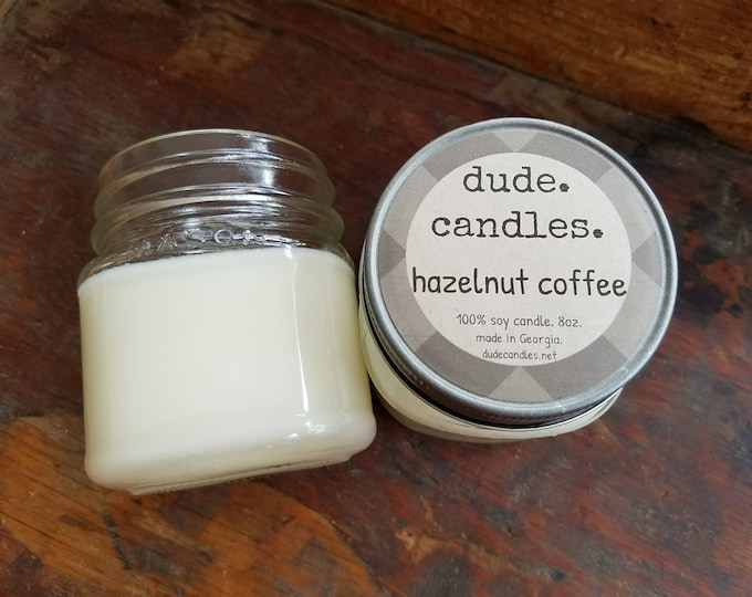 hazelnut coffee candle. 8oz soy candle.