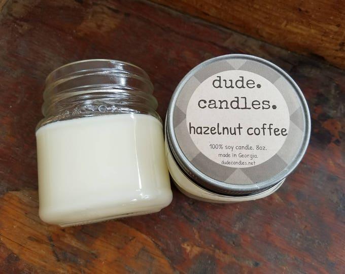 hazelnut coffee candle. 8oz soy candle.