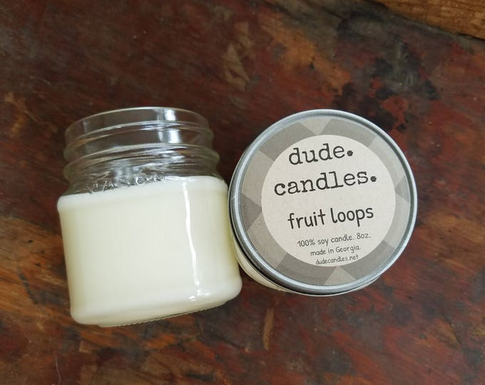 fruit loops candle. 8oz soy candle.