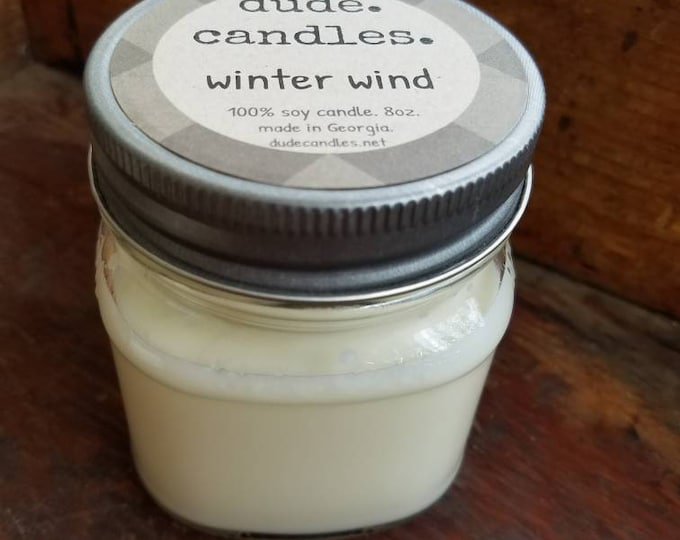 winter wind candle. 8oz soy candle.