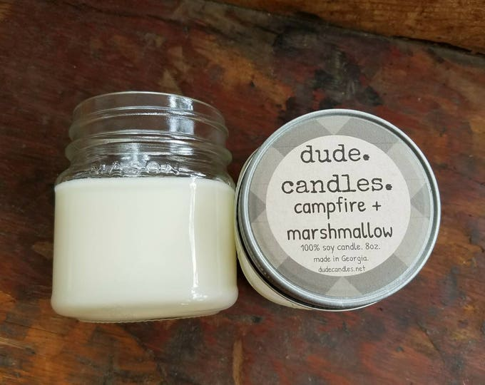 campfire and marshmallows candle. 8oz soy candle.