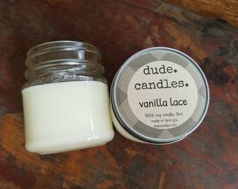 vanilla lace candle. 8oz soy candle. dude candle. man candle. mason jar candle. vanilla candles. sexy candles. bedroom candles.