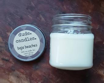 baja beaches candle. 8oz soy candle. dude candle. mason jar candle.