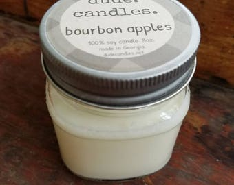 bourbon apples candle. 8oz soy candle. dude candle. mason jar candle. maple boubon apple candle.