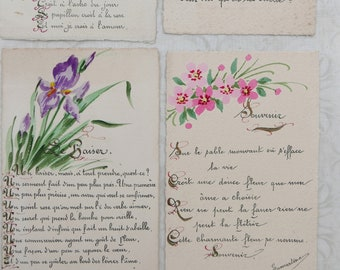 4 French Hand Painted Postcards, Antique French Postcards, Watercolour Postcards, French Romantic Postcards.