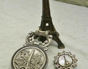 VINTAGE PARIS MEMORABILIA, French Paris Souvenirs, Eiffel Tower Brooch, Eiffel Tower Souvenirs, Eiffel Tower Memorabilia.