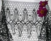 2.33yards, Antique French Lace Trim, French Passementerie, Le Puy Black Lace, Black Bobbin Lace, 1880 39 s to 1900.