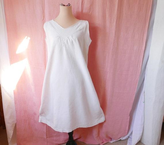 Antique Linen French Dress, Linen Nightdress, Chem