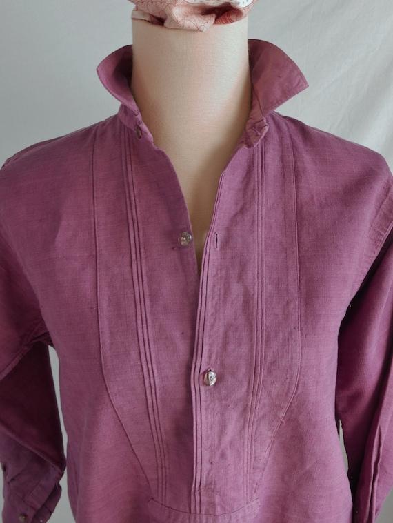 French Linen Nightshirt, Vintage Linen Shirt, Line