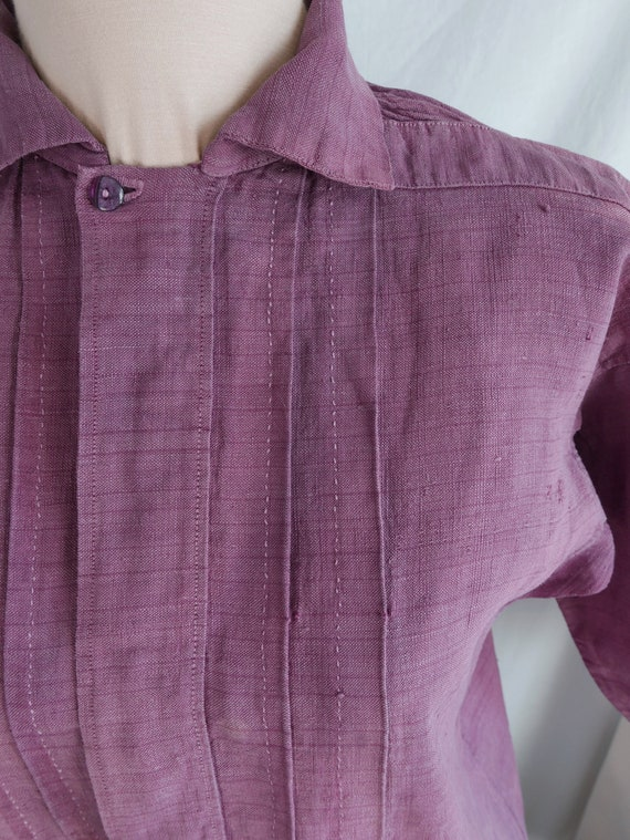 Antique French Plum Linen Shirt,  Linen Chemise, F