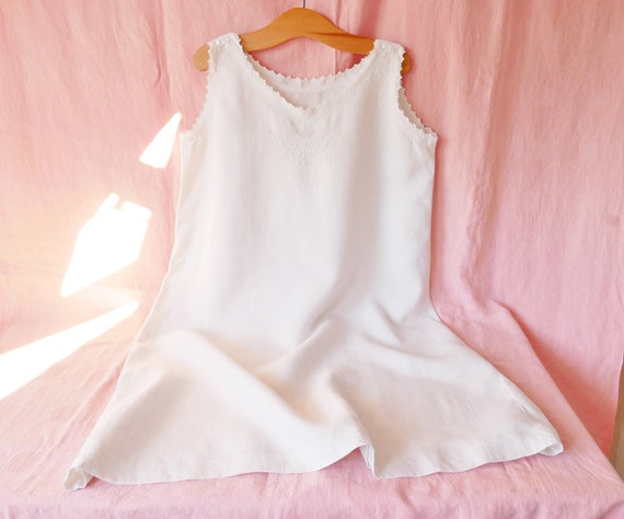 Antique French Linen Dress, Embroidered Linen Nigh