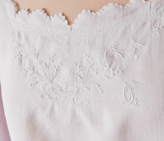 Antique French Linen Dress, Hand Embroidered Linen