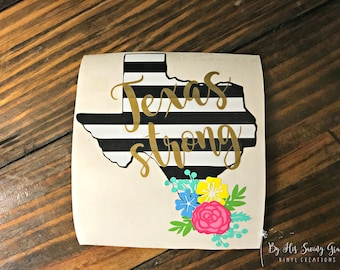Black And White Striped Texas Decal W Name And Flower Swag