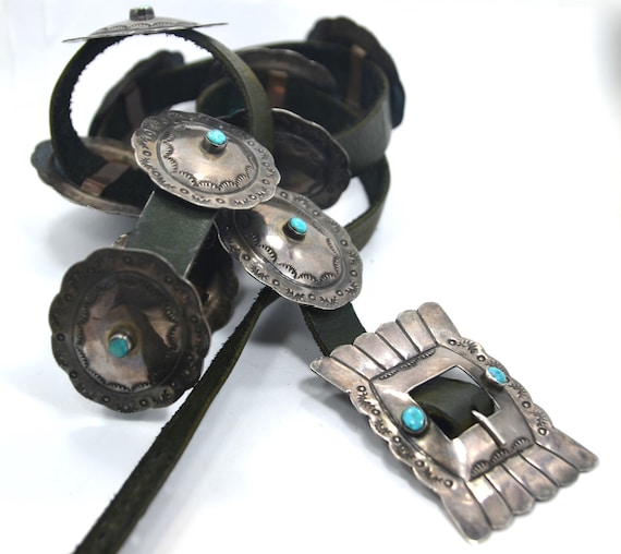 1940s Navajo Silver Turquoise Concho Belt 50""