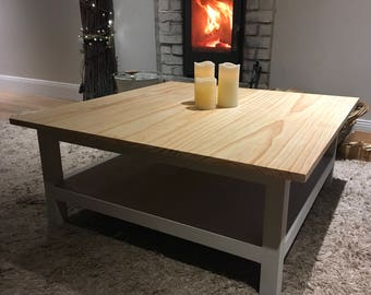 Rustic coffee table, Square coffee table, Coffee table, solid wood coffee table.
