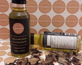 Black Truffle Oil, Infused Greek Extra Virgin Olive Oil Pure Raw Unrefined Cold Pressed  100ml