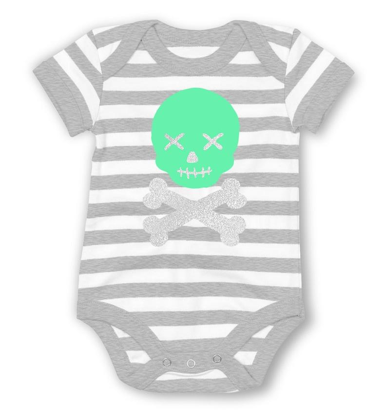 Skull And Bones Glitter striped baby grow