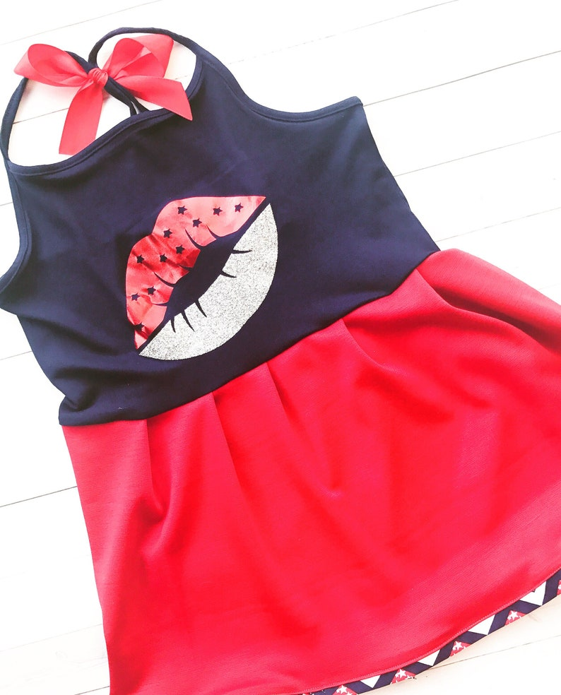 Red and Silver Glittered 4th of July Lips Red and Blue Dress