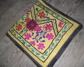 Vintage Oushak Rug 16x16 suzani textile caucasion pillow turkish thin square decor bed all decoration stylish rugs floral pattern yellow