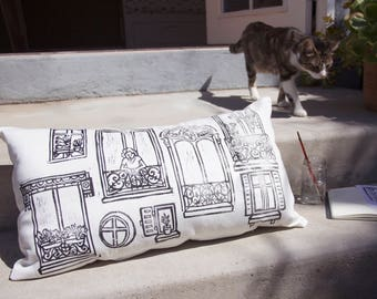 Rectangle Cushion cover - one side printed - Parisian windows
