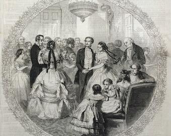1856 La Varsovienne drawn by Gustave Janet - Original Antique Engraving - Mazurka - Ballroom Dancing - Polish Music - Victorian Fashion