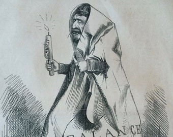 1861 Original Antique Political Satire Print - Punch or the London Charivari - Victorian Decor - Humour - Satirical Print - Wall Decor