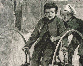 1892 The Borrowed Tricycle Original Antique Engraving - Victorian Decor - Bicycle - Children - Available Framed