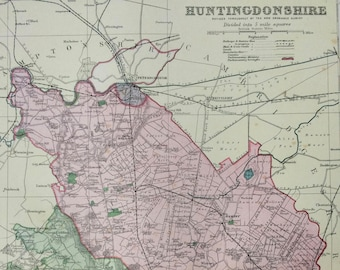 1896 Huntingdonshire Large Original Antique Map showing railways, stations, canals, crossroads - UK County - Wall Map - Decorative Art